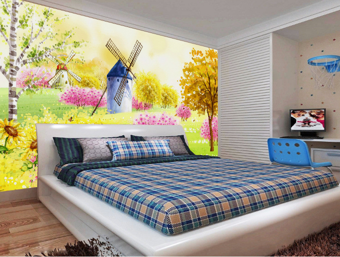 3D Windmühle Blaumen 8675 Tapete Wandgemälde Tapeten Bild Familie DE Summer