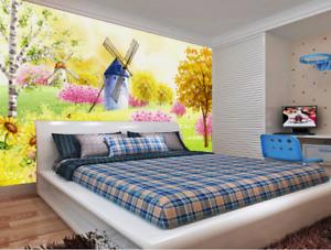 3D Windmühle bluemen 8675 Tapete Wandgemälde Tapeten Bild Familie DE Summer