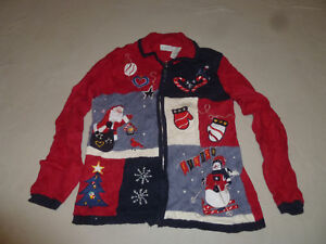 VINTAGE WHITE STAG ZIP CHRISTMAS SWEATER SANTA TREE CANDY CANE SNOWMAN SIZE L >