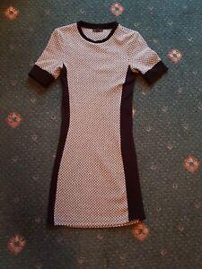 BLACK-GREY-WHITE-BODYCON-DRESS-SIZE-8-BY-TOP-SHOP