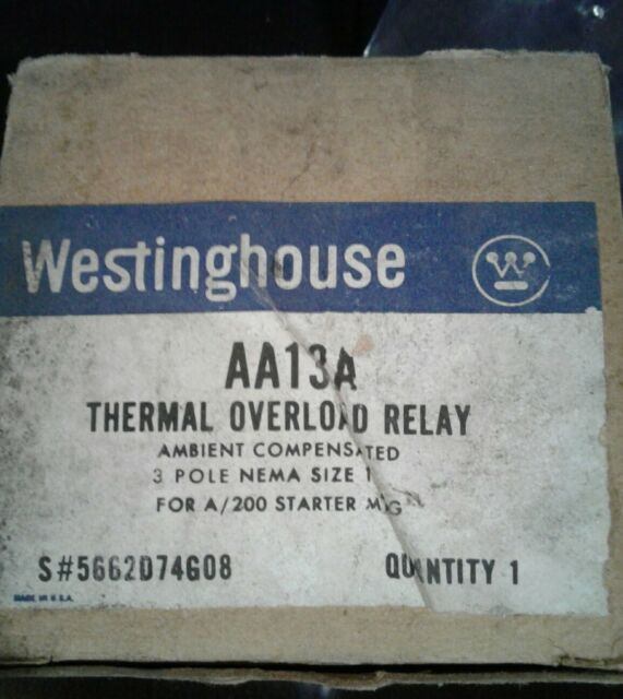 WESTINGHOUSE AA13A THERMAL OVERLOAD RELAY 3P SIZE 1 - FREE SHIPPING