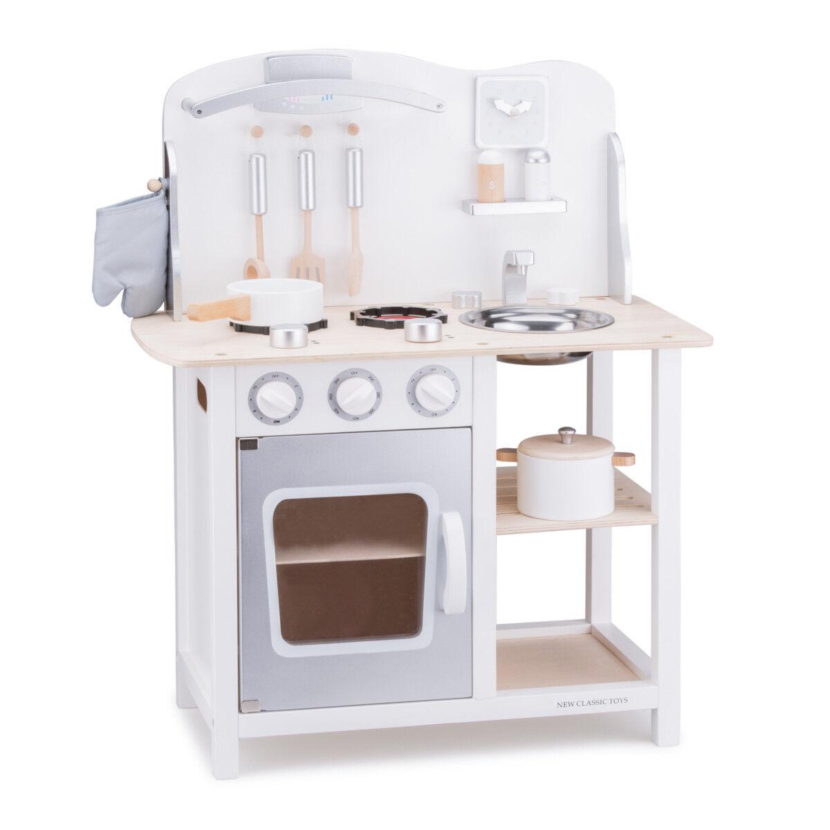 Spielküche Kinderküche Holz Weiß Grau mit Zubehör Holzspielzeug Küche Spielzeug