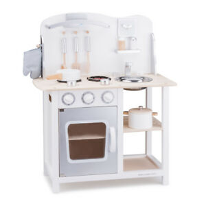 Spielkuche Kinderkuche Holz Weiss Grau Mit Zubehor Holzspielzeug
