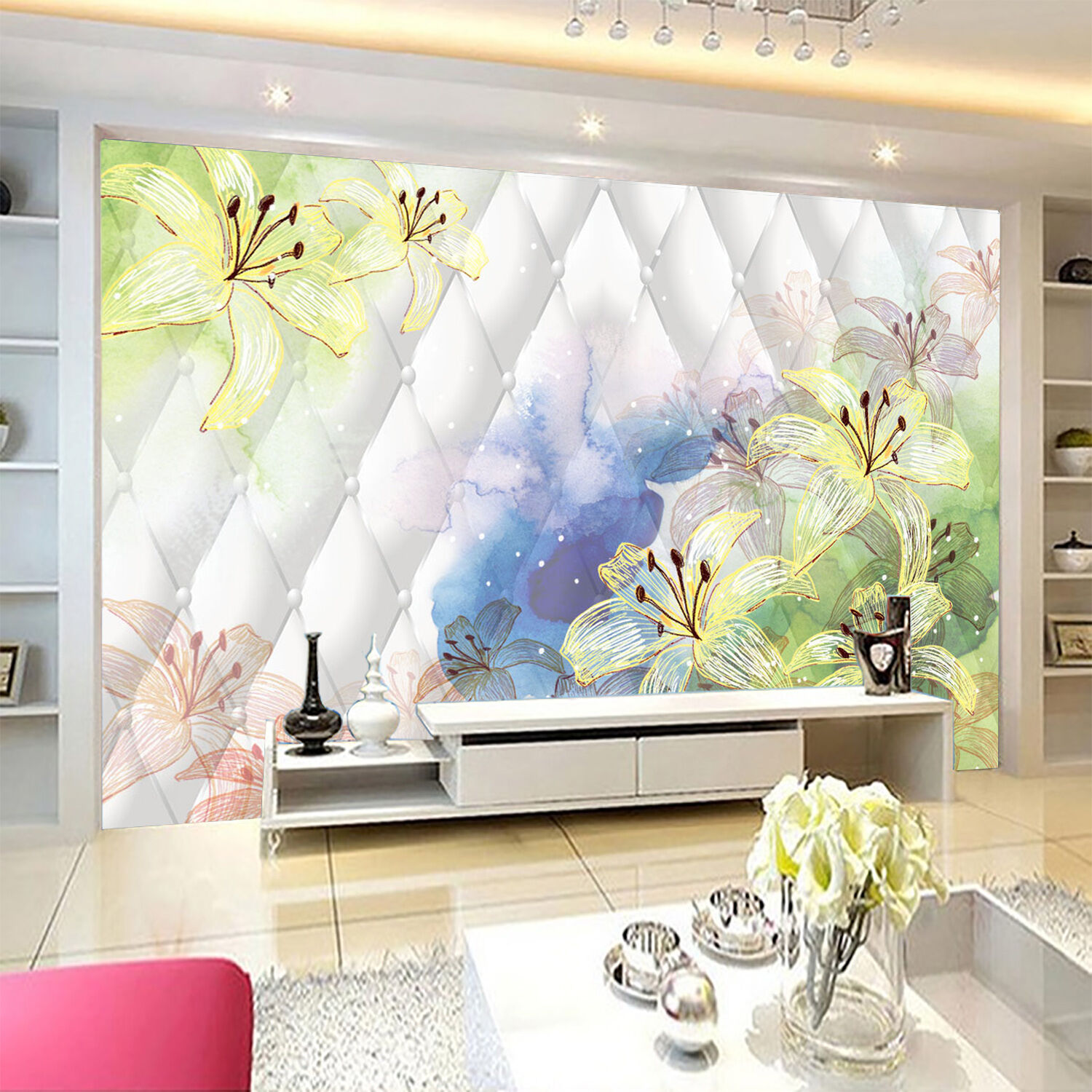 3D Lily painted 440 Wall Paper wall Print Decal Wall Deco Indoor wall Mural