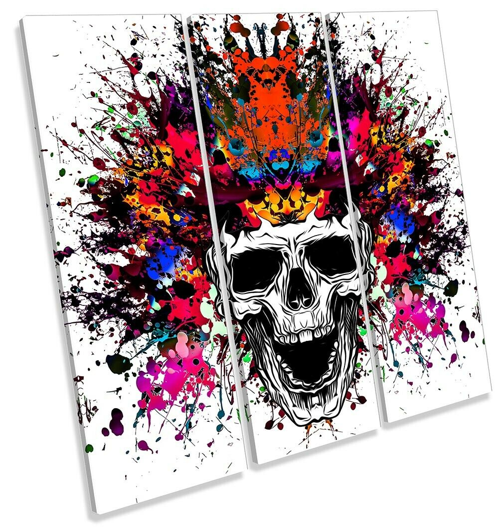 Skull Headress Explosion Bild TREBLE CANVAS Wand Kunst Square Drucken
