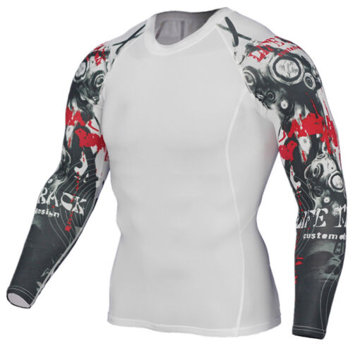 Mens Long Sleeve Muscle Tops Compression Under Skin Base Layer T-Shirt Fitness