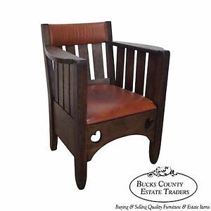 Miraculous Details About Antique Mission Oak Leather Cube Chair Creativecarmelina Interior Chair Design Creativecarmelinacom
