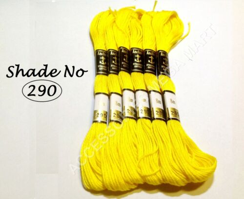 8m 6 Yellow Anchor Cotton Thread Skeins embroidery floss most demanding color