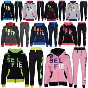 Enfants Filles Garçons Survêtement la puissance Design Noir /& Rose Haut Bas de jogging Suits