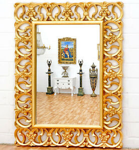 grand miroir baroque 124x92cm glace rocaille rococo cadre en bois dore ebay. Black Bedroom Furniture Sets. Home Design Ideas