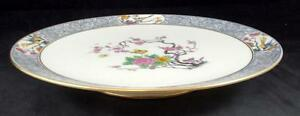 Lenox-MING-BIRDS-BLACK-BACKSTAMP-Round-Footed-Sandwich-Plate-P16-GREAT-CONDITION