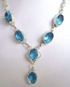 Magnifique Bijou Collier Argent 925 MilliÈme Avec Quartz Bleu Silver 415 Large SéLection;