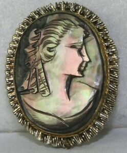 Vintage italian italy carved mother of pearl cameo pin pendant ebay image is loading vintage italian italy carved mother of pearl cameo aloadofball Image collections
