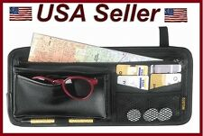 Black Sun Visor Organizer Keeps Car/Truck/RV Neat/Organized Multi Pockets Pen