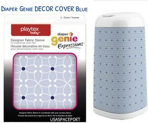 Playtex Diaper Genie Diaper Pail Cover Fabric Sleeve Design Gray White Decor