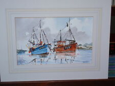 RENEE NASH FISHING SAILING BOATS ORIGINAL SIGNED WATERCOLOUR PAINTING ON PAPER