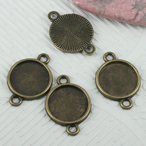20pcs antiqued bronze color round 12mm cabochon settings connector EF0690