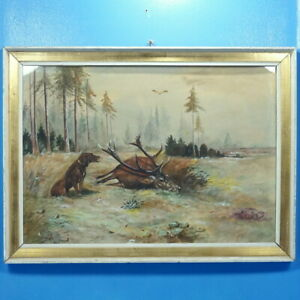 Details About Antique German Watercolor Hunt Painting Dog Stag Forest Bird Signed Framed