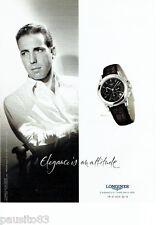 PUBLICITE ADVERTISING 096  2002  la montre Longines Flagship Humprey Bogart