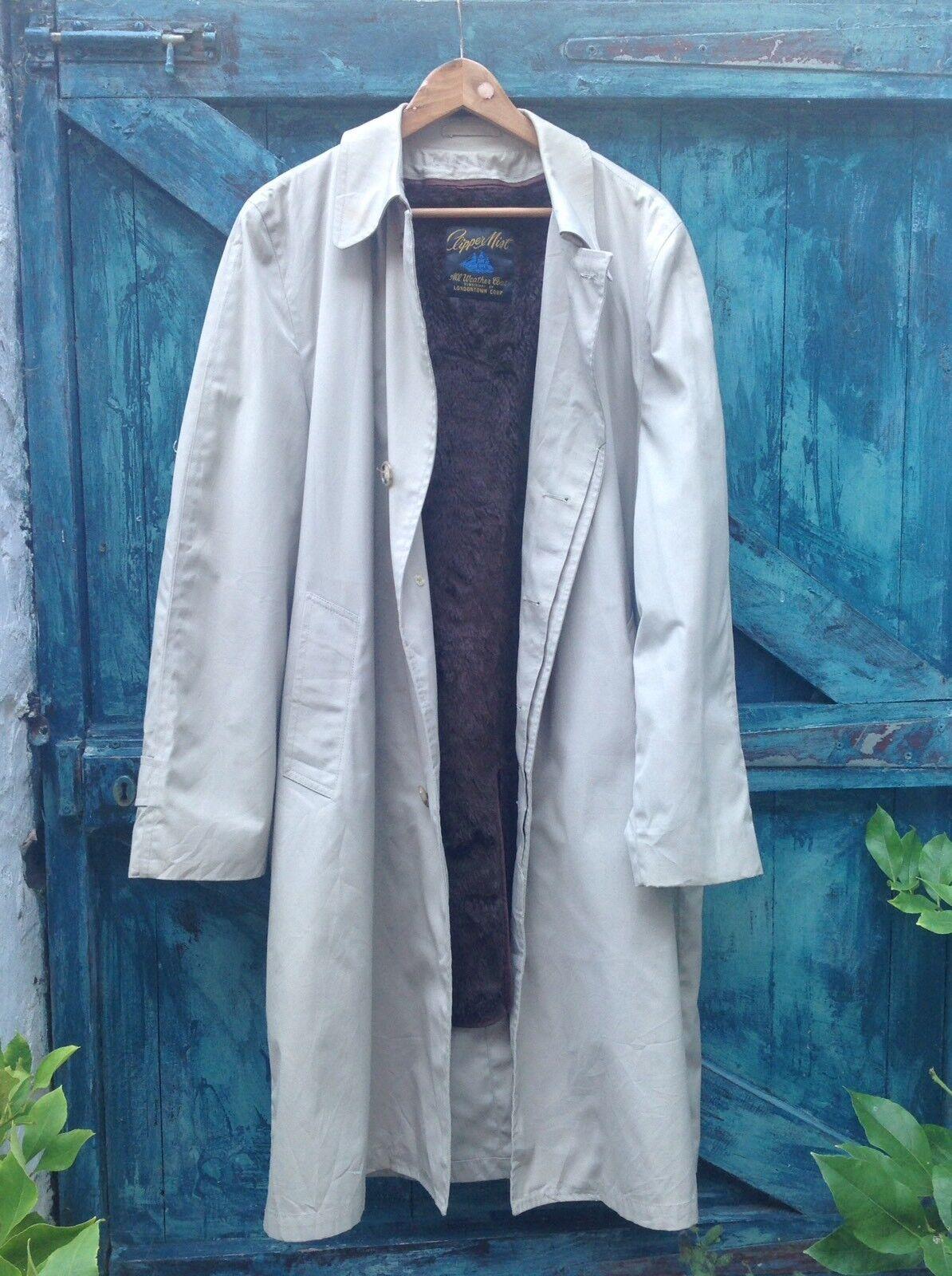 Herren Raincoat Größe 42 Beige Vintage Clipper Mist Fur Liner Vgc