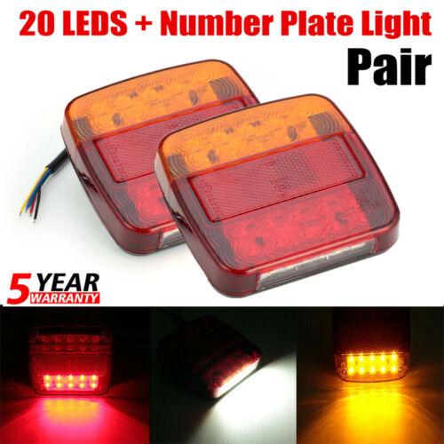 1PAIR 20 LED TRAILER REAR TAIL LIGHTS MULTI-FUNCTION CARAVAN TRUCK VAN LAMP 12V