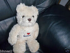 """THE BEATLES """"I LOVE THE BEATLES"""" WHITE CUDDLY TEDDY BEAR  BRAND NEW AND HUGABLE"""