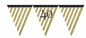 12ft-BLACK-amp-GOLD-PARTY-40-BIRTHDAY-FLAG-BUNTING-40th-ADULTS-NEW-DECORATION