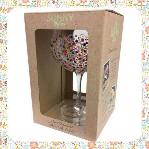 Sunny By Sue Hand Painted Gin /& Tonic Large Candy Balloon Glass Boxed 061