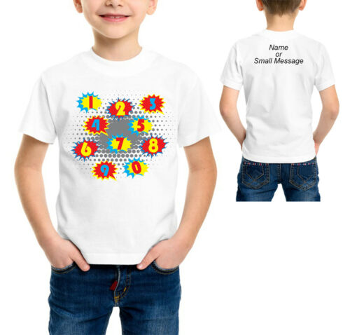 Awesome Super Hero Style Personalised Number Maths School T Shirt  Boys Girls