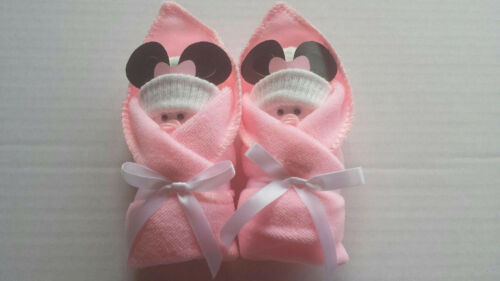 MINNIE MOUSE PINK WHITE LITTLE SWADDLERS DIAPER BABY SHOWER FAVORS GIFT TOPPER
