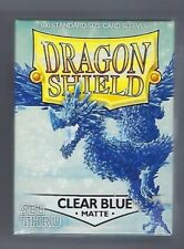 Dragon Shield 100 Count Standard Size Matte Deck Protector Sleeves Matte Clear Blue