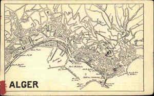 Algerien-Dokument-Stadtplan-ALGER-Algier-Map-City-Map-Stadt-Beschreibung-Foto