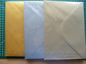 50 x C5//A5 Pearlescent 100gsm PlainGummed Envelopes V-fold  Silver//Gold//Ch Gold