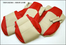 MERCEDES MP4 LEATHERETTE SEAT COVERS BEIGE/RED[TRUCK PARTS & ACCESSORIES]