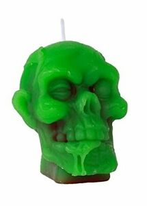 Green-Zombie-Head-Candle-Gothic-Halloween-Melting-Bleeding-Skull-Skeleton