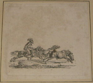 ANTIQUE CHRISTIAN DAVID GEBAUER *SOLDIER RIDING HORSE PACK* ETCHING - DRESDEN