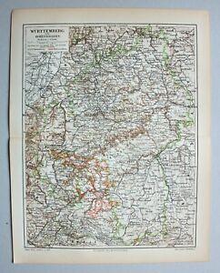 Württemberg und Hohenzollern - Alte Landkarte - Lithographie 1898