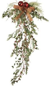 Christmas-Winter-Cedar-Pine-Door-Trailer-Teardrop-Swag-Garland-Branches-Cones
