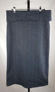 Flower-size-10-denim-skirt-straight-midi-maxi-dark-wash