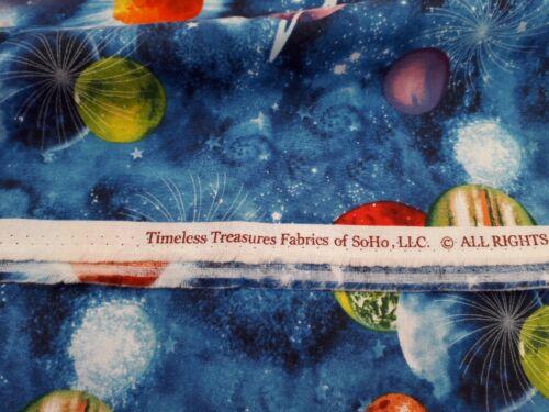 "C5736 NEUF 100/% tissu de coton-TIMELESS TREASURES /""Espace/"" planètes design No"
