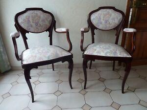 1 Paire De 2 Fauteuils Ou Chaises Avec Accoudoir Art Nouveau Ancien En Bois Pour Classer En Premier Parmi Les Produits Similaires