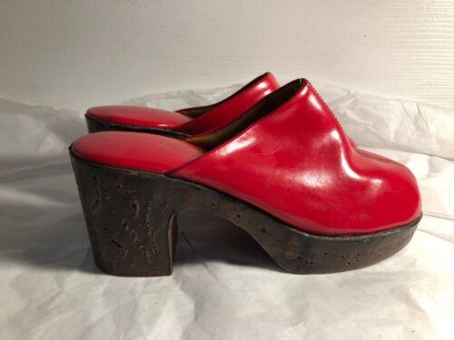Vintage Rare Womens Vinyl Red Clogs Disco 1970s S