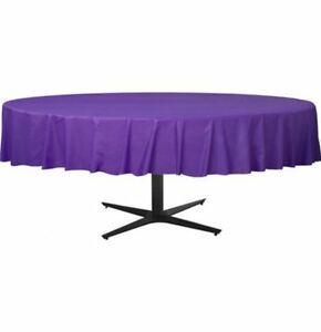 1 X Large Disposable Round Purple Plastic Table Cloth Cover 84 Ebay