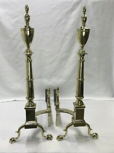 Antique-Vtg-Brass-Fireplace-Andirons-Large-30-034-Chippendale-Empire-Federal-Claw-F
