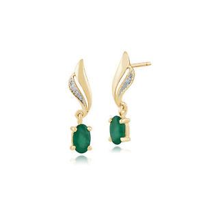 Gemondo-9ct-Yellow-Gold-0-51ct-Emerald-amp-Diamond-Drop-Earrings