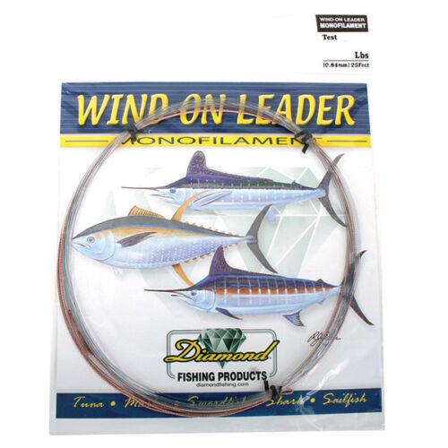 Momoi Diamond Monofilament Wind On Leaders-25 Ft-Smoke Blue 250 Lb.