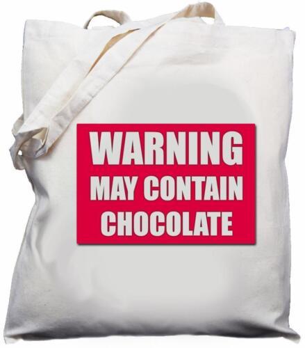 Cream Natural Warning May Contain Chocolate Cotton Shoulder Bag