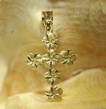 15mm Hawaiian Solid 14k Yellow Gold DC Diamond Cut Plumeria Flower Cross Pendant
