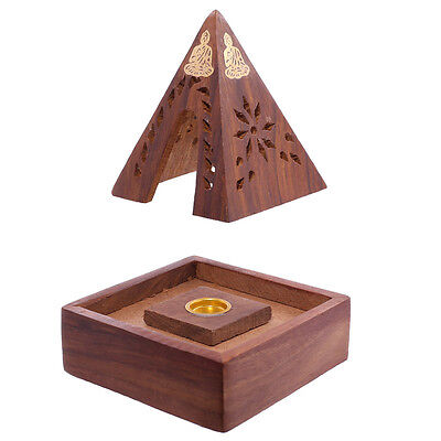 Decorative Sheehsam Wood Incense Cone Burner Pyramid Box Buddha Gift Ash IF203