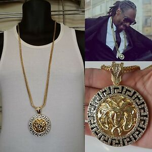 Mens Iced Round Medallion Greek God Pendant Gold Franco Chain Necklace Ebay